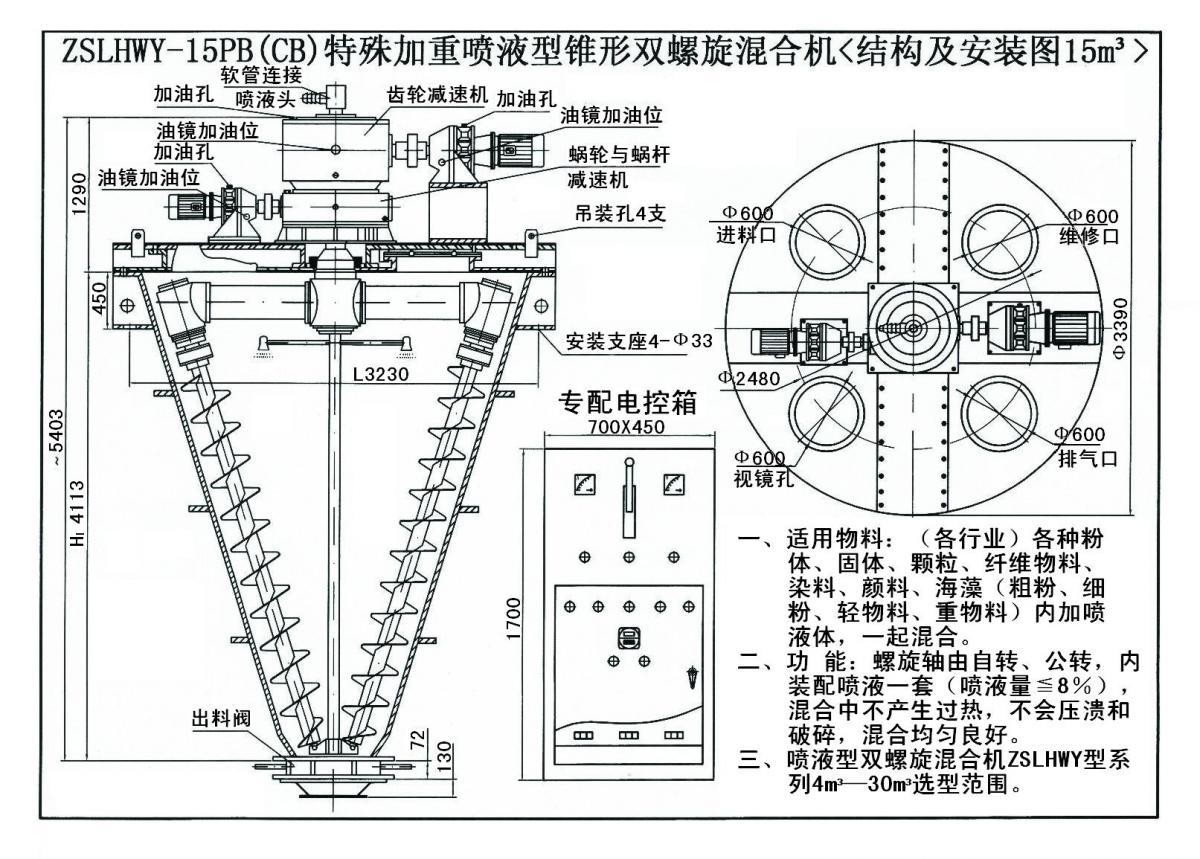 ZSLHWY-15PB(CB)特殊加重喷液型锥形双螺旋混合机